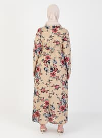 Cream - Multi - Unlined - Crew neck - Plus Size Dress