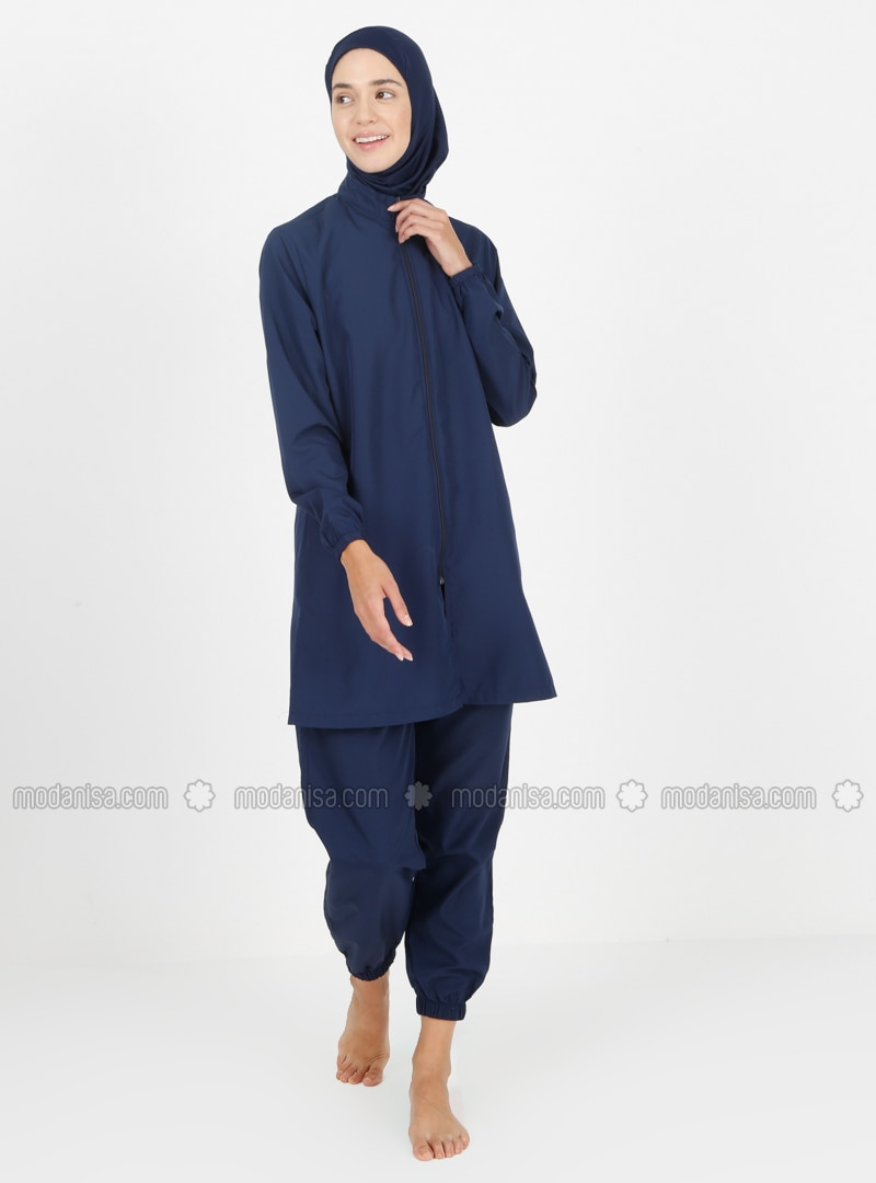 Navy Blue - Unlined - Full Coverage Swimsuit Burkini