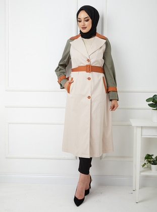 Beige - Unlined - Shawl Collar - Cotton - Trench Coat