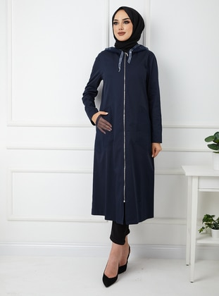 Navy Blue - Unlined - Viscose - Topcoat