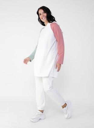 Ecru - Sea-green - Viscose - Plus Size Tunic