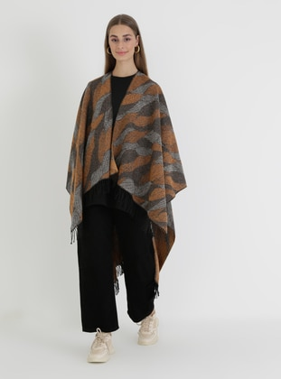 Brown - Tan - Orange - Multi - Unlined - Acrylic - Triko - Wool Blend - Poncho