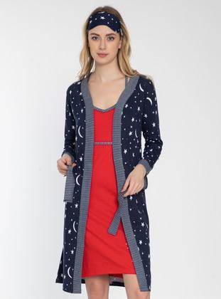 Navy Blue - Multi - Nightdress