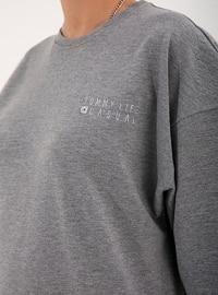 Gray - Crew neck - Tracksuit Set