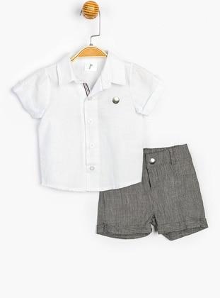 Point Collar - White - Linen - Cotton - Baby Suit - SUPERMİNO