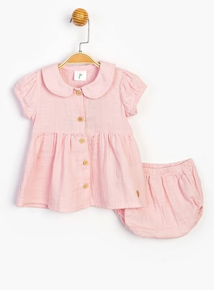 Round Collar - Unlined - Pink - Cotton - Baby Dress - SUPERMİNO