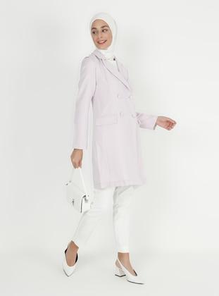 Lilac - Unlined - V neck Collar - Jacket