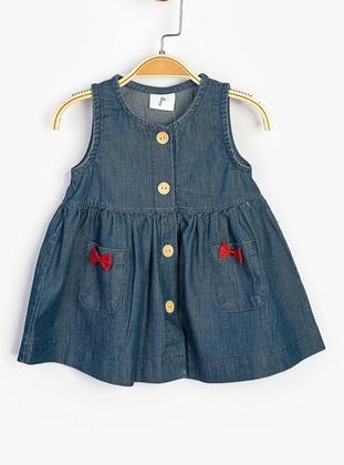 Crew neck - Blue - Cotton - Baby Dress - SUPERMİNO