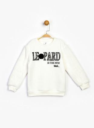 Crew neck - Unlined - Ecru - Girls` Sweatshirt