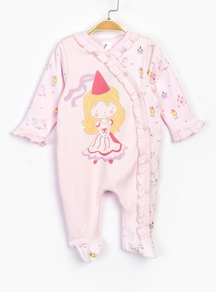 Multi - Unlined - Pink - Cotton - Baby Sleepsuit - SUPERMİNO