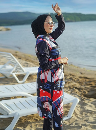Red - Multi - Fully Lined - Full Coverage Swimsuit Burkini
