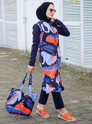 Orange - Multi - Fully Lined - Full Coverage Swimsuit Burkini