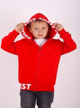 Red - Boys` Cardigan
