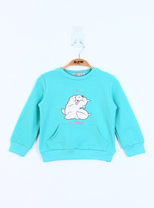 Printed - Crew neck - Unlined - Mint - Girls` Sweatshirt