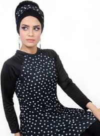 Black - Fully Lined - Full Coverage Swimsuit Burkini