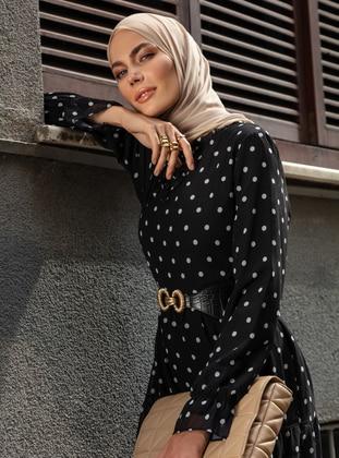 White - Black - Polka Dot - Crew neck - Fully Lined - Modest Dress