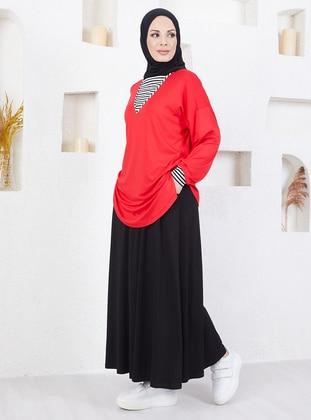Red - Black - Stripe - Cotton - Suit