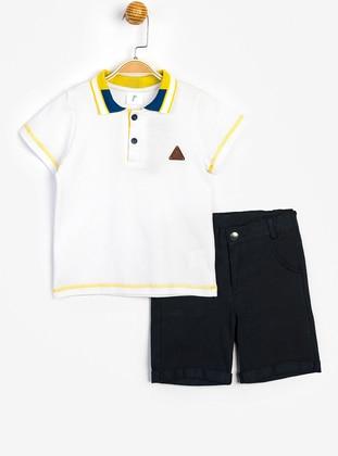 Point Collar - White - Boys` Suit - SUPERMİNO