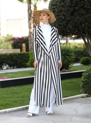 Stripe - White - Black - Shawl Collar - Cotton - Kimono - Selma Sarı Design