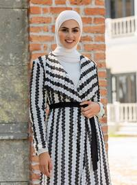 Stripe - White - Black - Shawl Collar - Cotton - Kimono