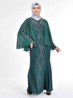 Green - V neck Collar - Unlined - Chiffon - Modest Evening Dress