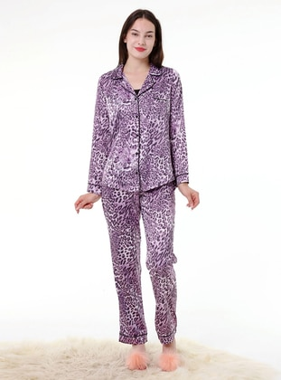 Purple - V neck Collar - Stripe - Pyjama Set