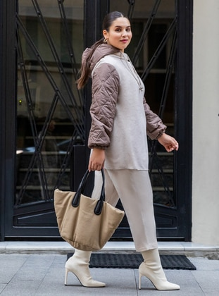 Beige - Unlined - Acrylic - Cotton - Plus Size Jacket - Alia