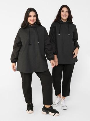 Black - Unlined - Acrylic - Cotton - Plus Size Jacket - Alia
