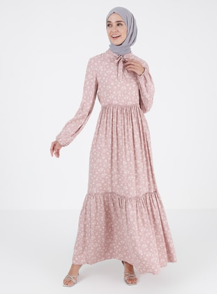 Pink - Floral - Crew neck - Unlined - Modest Dress