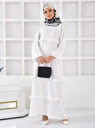 Ecru - Crew neck - Unlined - Modest Dress