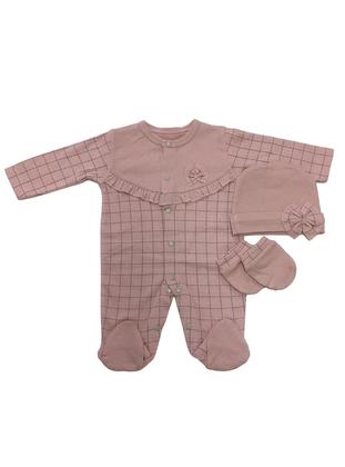 Plaid - Crew neck - Powder - Cotton - Baby Sleepsuit - Dinemis Baby
