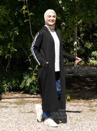 Black - Unlined - Cotton - Topcoat