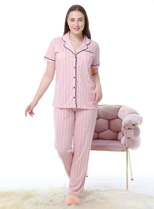 Pink - V neck Collar - Stripe - Pyjama Set