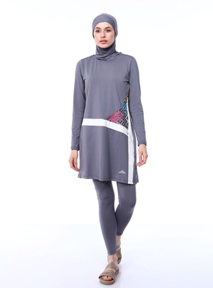Gray - Fully Lined - Full Coverage Swimsuit Burkini