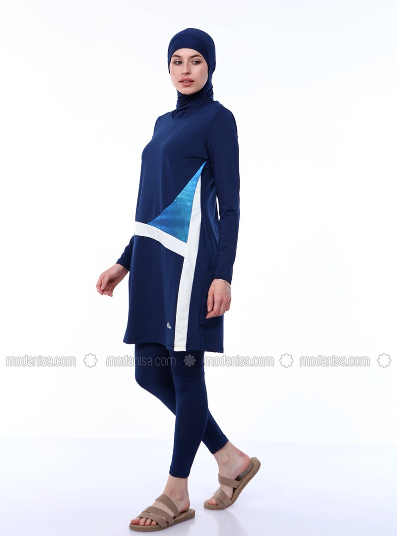 Navy Blue - Fully Lined - Full Coverage Swimsuit Burkini
