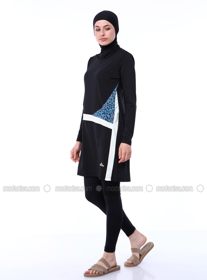 Black - Fully Lined - Fully Lined - Full Coverage Swimsuit Burkini
