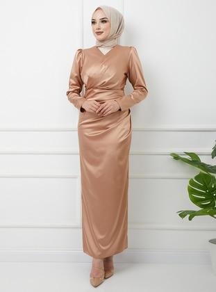 Gold - Unlined - V neck Collar - Modest Evening Dress