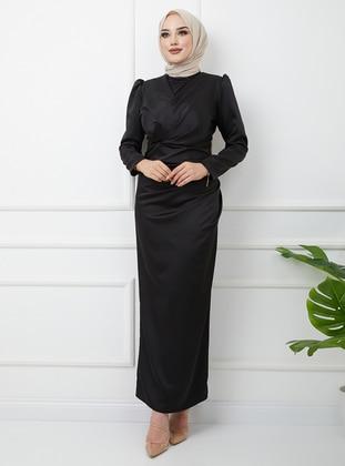 Black - Unlined - V neck Collar - Modest Evening Dress