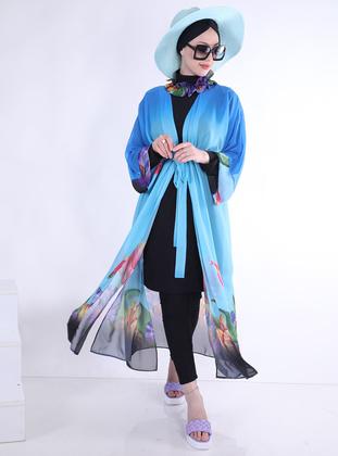Blue - Turquoise - Pareo - Ns Tasarım Tesettür Mayo