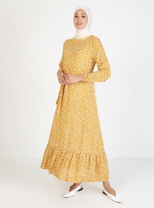 Mustard - Floral - Crew neck - Unlined - Viscose - Modest Dress