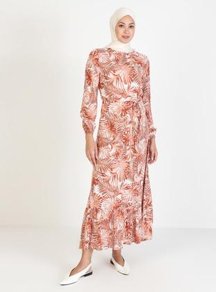 Terra Cotta - Multi - Crew neck - Unlined - Viscose - Modest Dress
