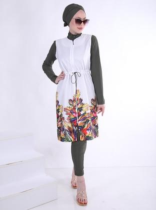 Tassel Design Parachute Fabric - Long Vest - White - Ns Tasarım Tesettür Mayo