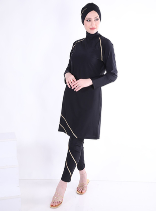 Black - Multi - Fully Lined - Full Coverage Swimsuit Burkini