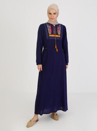 Purple - Crew neck - Unlined - Cotton - Modest Dress