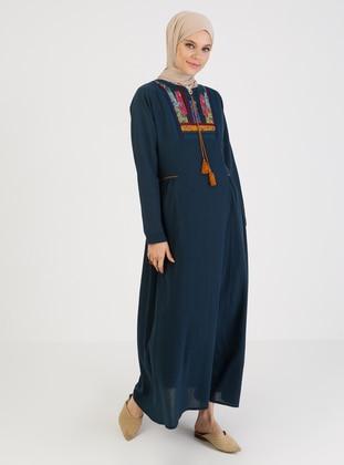 Petrol - Crew neck - Unlined - Cotton - Modest Dress