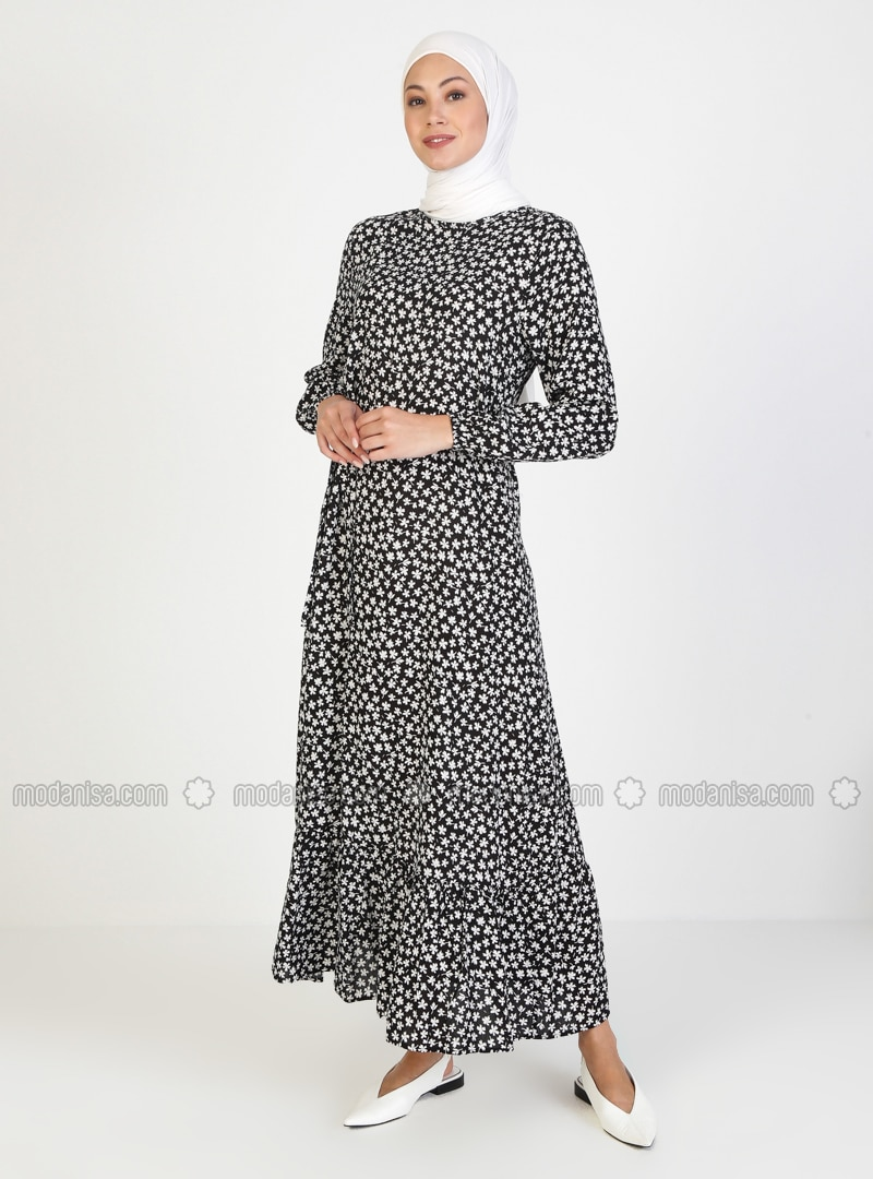 White - Black - Floral - Crew neck - Unlined - Viscose - Modest Dress