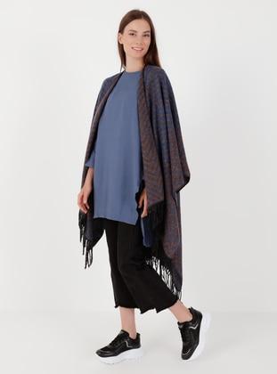 Saxe - Mink - Multi - Unlined - Acrylic - Triko - Wool Blend - Poncho