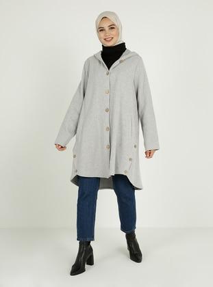 Gray - Unlined - V neck Collar - Coat