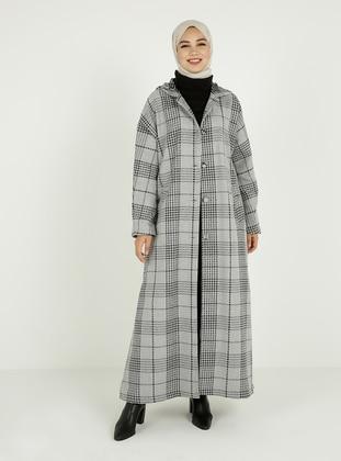 Gray - Plaid - Unlined - Coat