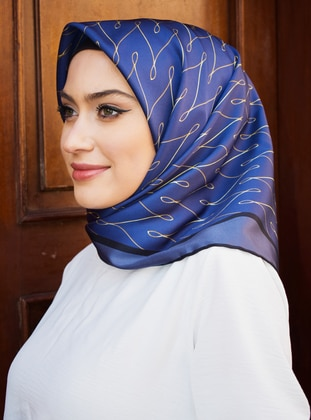 Gold - Navy Blue - Printed - Scarf